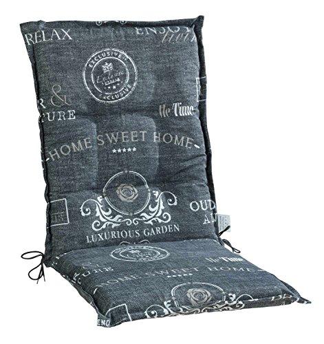 Sesselauflage Sitzpolster Gartenstuhlauflage für Mittellehner ANNELE 5 | B 50 cm x L 110 cm | Grau | Baumwolle | Polyester