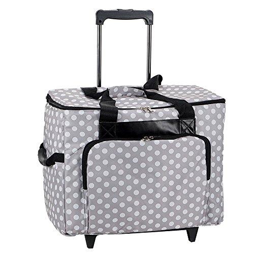 Nähmaschinen-Trolley, grau-weiß im Polka Dots Design -- Gepolstert -- Teleskopstange -- Strapazierfähiger Nähmaschinen-Koffer gepunktet mit Rollen
