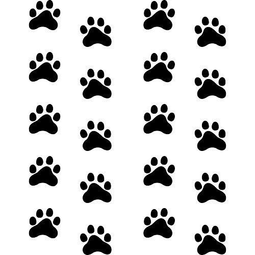 3cm Pfoten Pfötchen Hund Katze Auto Motorrad Tür Fenster Fressnapf Napf Aufkleber Tattoo Deko Folie (10 Paar schwarz)