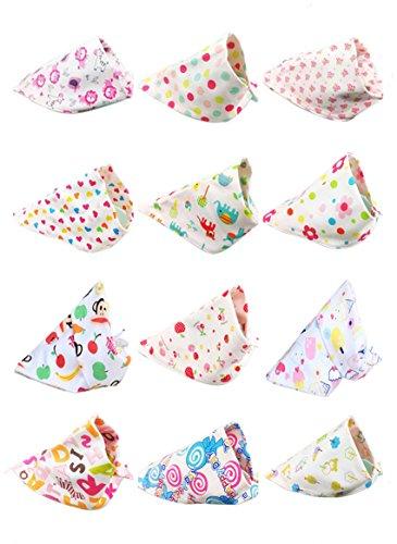 Kauftree 5/8/12er Baby Kinder Baumwolle Dreieckstuch Babylätzchen Lätzchen Babylatz Halstuch Spucktuch Set (12er für Mädchen)