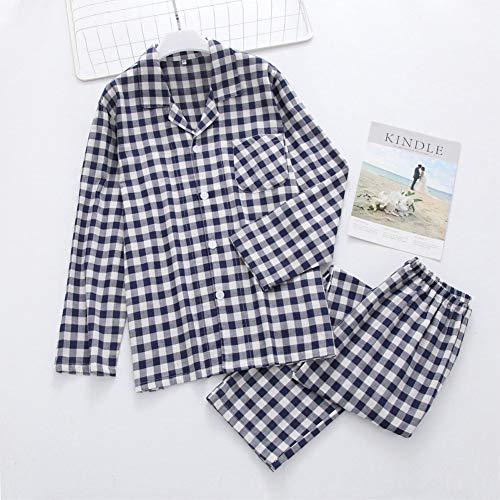 HIUGHJ Pyjamas Mode Plaid Paar Indoor Frauen Baumwolle Pyjamas männer Hause nachtwäsche lässig 100% Baumwolle männliche langhülse Pyjamas Frauen (Männliche Einhorn Kostüm)