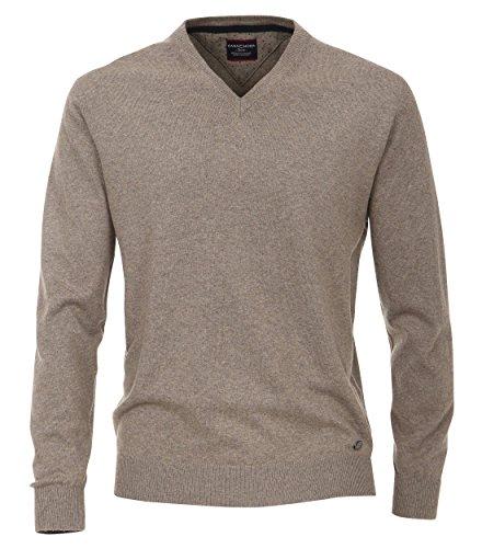 Pullover mit V-Ausschnitt unifarben sand/meliert