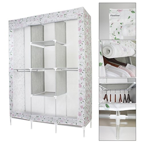 finether-clothes-rail-storage-double-modular-metal-framed-fabric-floral-wardrobe