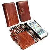 Alston Craig Echt Vintage wallet RFID-blockierender Magnetic Magnet Leder Tasche Case Cover für iPhone 5/5S/SE–Braun