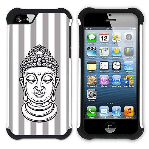 Graphic4You Buddha-Kopf Streifenmuster (Wasserblau) Hart + Weiche Kratzfeste Hülle Case Schale Tasche Schutzhülle für Apple iPhone SE / 5 / 5S Grau