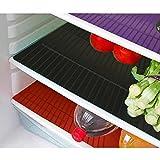 #4: Kuber Industries™ Refrigerator Drawer Mat / Fridge Mat Set of 6 Pcs (13*19 Inches) (Black+ Blue+Red)