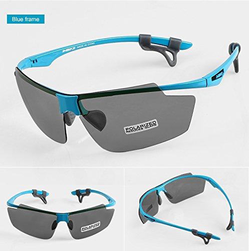 INBIKE ultraligero ciclismo gafas polarizadas para bicicleta Deportes al aire libre Eyewear gafas cortavientos para hombres y mujeres MTB Equipo 2lente, azul