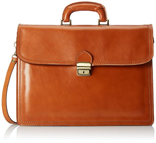 Veranstalter Herrentasche, Box Elegant, Aktentasche, echtes Leder 100% Made in Italy Orange (Cuoio)