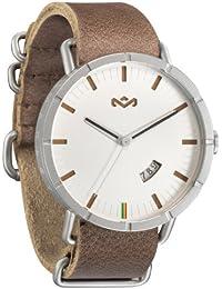 The House Of Marley Hitch Leather - Reloj (Reloj de pulsera, Acero inoxidable, Plata, Cuero, Marrón, Transparente)