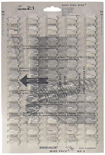 Renz One Pitch Drahtkamm-Bindeelemente in 2:1 Teilung, 23 Schlaufen, Durchmesser 19.0 mm, 3/4 Zoll, silber/glänzend
