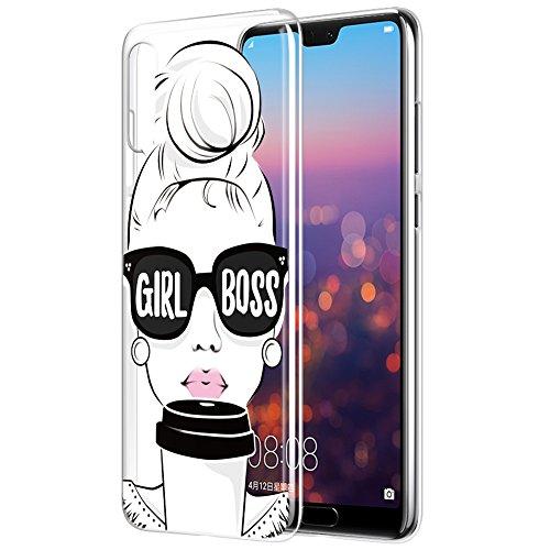 Eouine Funda Huawei P20 Pro, Cárcasa Silicona 3D Transparente con Dibujos Diseño Suave Gel TPU [Antigolpes] de Protector Bumper Case Cover Fundas para Movil Huawei P20 Pro - 6,1 Pulgadas (Girl Boss)