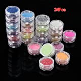 24 x Purpurinas Polvo Brillo Colores Metálicos Decoración Arte Uñas Manicura