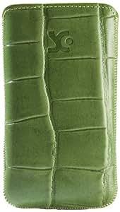 Original Suncase Echt Ledertasche (Lasche mit Rückzugfunktion) für Nokia Lumia 610 croco-grün