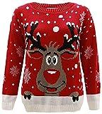 Mädchen Jungen Weihnachts Schneemann Pinguin Rudolph Eisbär Pullover Alters-3-14 (5-6, Rudolph Rot 2)