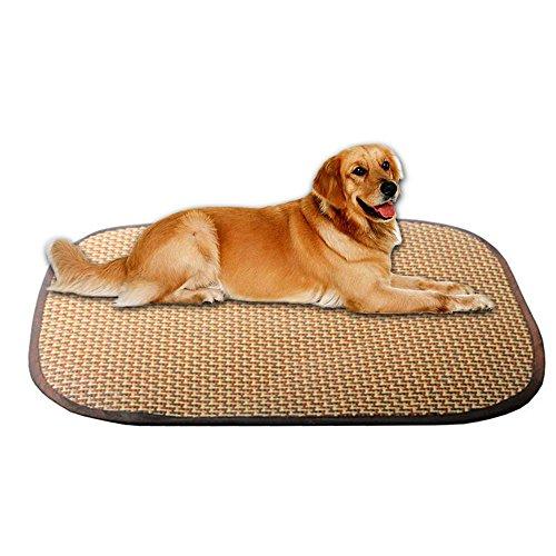 Aolvo Hund Cooling Pad, Haustier Sommer Sleeping Wärmeplatte, natur Rattan Nap Matratzen Kissen Bett Liegen, atmungsaktiv komfortable Kühlung Matte Sitz für Hunde und Katzen Rectangle L