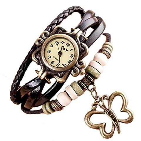 Bonjouree Bracelets Femmes en Simili-Cuir Tisse de Papillon Poignet Montre Quartz (Noir)