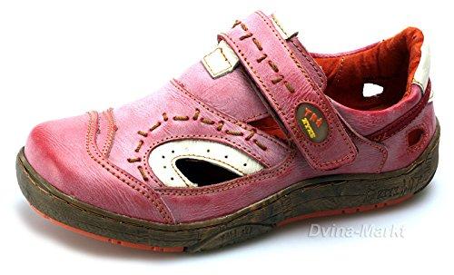 TMA Damen Freizeit Schuhe Echtleder Halbschuhe Sandalen 1370 Rot