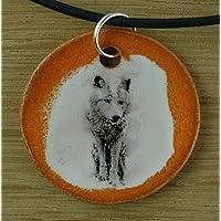 Echtes Kunsthandwerk: Schöner Keramik Anhänger mit einem Wolf; Isegrim, Wolf, Canis lupus, Hund