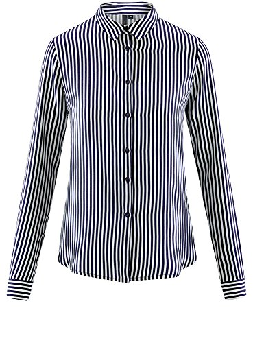 oodji Ultra Damen Viskose-Bluse mit Druck Blau (7912S)