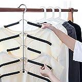 Globalqi, Mehrschichtige Kleiderbügel Five-Piece Schwamm Rutschfeste platzsparende Kleiderbügel Edelstahl Multifunktions-Seamless Kleidung Aufhängen Kann Vertikal Vertikal Zum Aufhängen Kleidung Hose