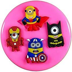 Superhéroe minions capitán américa superman Molde de silicona para la torta de Decoración Pastel de Cupcake Toppers Glaseado Sugarcraft Tool por Fairie Blessings