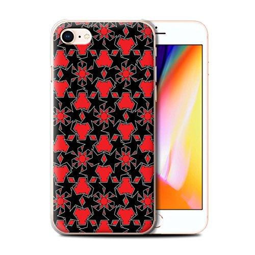 Stuff4 Hülle / Case für Apple iPhone 8 / Pack 8pcs / Zerstreute Sterne Kollektion Rotes Muster