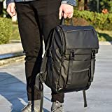 Laptop Backpack 15.6 inch, iSPECLE Lightweight Tablet Mens Backpack Bag with USB Charging Port and Sturdy Clip Black Backpack for Men Women, Student, Work, Travel, College 24.5L Big Black