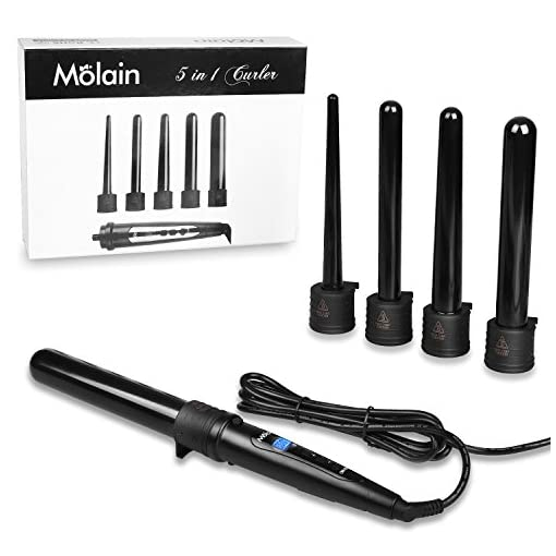 Molain 5 in 1 Curling Tongs Hair Curlers Wands LCD Display Tourmaline Ceramic Barrels Curling Irons Set for Hair Curling Styling - 51yBxwG9pIL - Molain 5 in 1 Curling Tongs Hair Curlers Wands LCD Display Tourmaline Ceramic Barrels Curling Irons Set for Hair Curling Styling