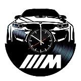 LKCAK Reloj de Vinilo BMW - Discos de Vinilo Decoraciones de Pared Hechas a Mano - Regalo Vintage para Hombres y Mujeres Enamorados de BMW