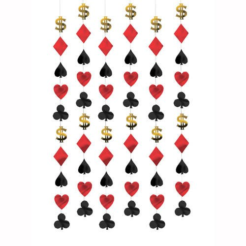 PARTY DISCOUNT Girlande Casino, 6 Stück à 2 m
