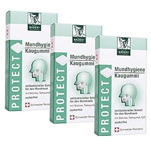 BADERs Protect Mundhygiene Kaugummi aus der Apotheke. Antibakterieller Schutz für den Mundraum mit Teebaumöl, Grüntee und Xylit. 3 x 16 Kaugummi-Quadrate