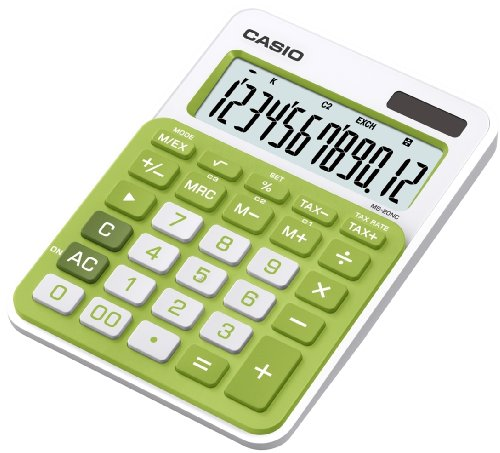 Casio MS-20NC-GN-S-EC - Calculadora básica (con panel solar y batería, 22 x 104.5 x 149.5 mm), color verde