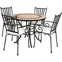 Conjunto de Mesa y sillas para jardín marrón de cerámica ...