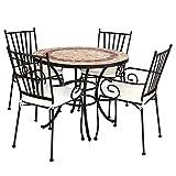 Conjunto de Mesa y sillas para jardín marrón de cerámica