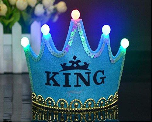 nz Königskrone Krone Diadem Tiara Geburtstag Kopfschmuck mit Led Lampe für Kinder (blau King) ()