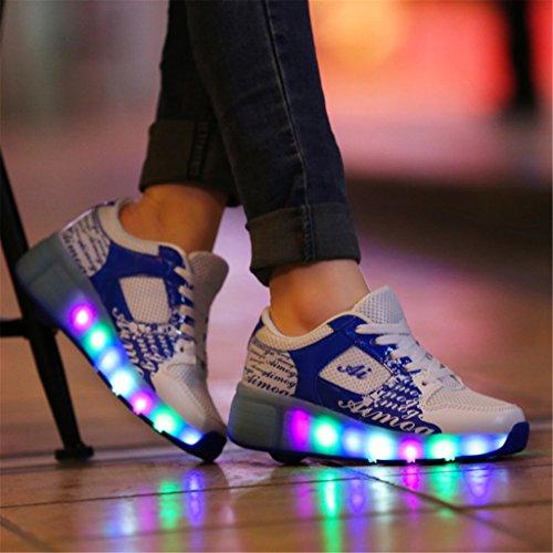 SGoodshoes Enfants Fille LED Chaussures à roulettes Patins Garçon Sneakers Clignotant Sport Chaussures Patins Bleu