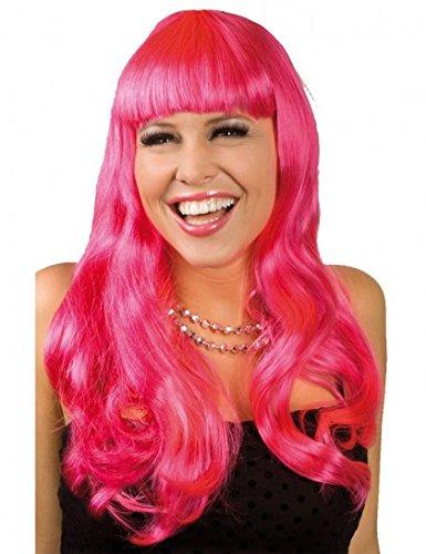 Perücke Party Chique Rosa Locken langhaar (Farbige Kostüme Perücken)
