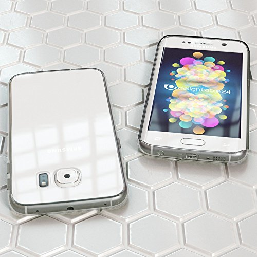 Samsung Galaxy S6 Edge Hülle Handyhülle von NICA, Durchsichtiges Slim Silikon Case Transparente Rückseite & Bumper, Crystal Schutzhülle Cover Etui Dünn, Handy-Tasche Backcover - Transparent / Türkis Transparent / Grau