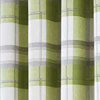"Fusion - Balmoral Check - Ready Made Lined Eyelet Curtains - 66"" Width x 90"" Drop (168 x 229cm), Green by J Rosenthal"