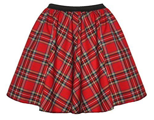 Red Tartan 15 Inch Skater Skirt in Standard or Plus Size