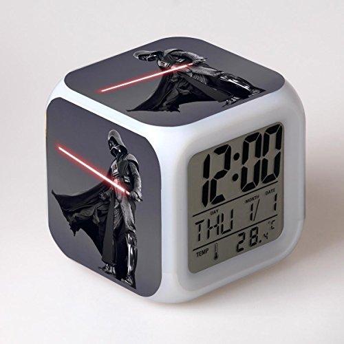 SXWY Reloj Despertador Digital Star Wars, Luces Coloridas Reloj Despertador con Humor Cuarteto Disponible Carga USB Adecuado para Niños Y Niñas Niños,2