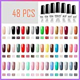 ROSALIND 48PCS/SET 10ml Pure Color Nail Gel,Nagellack Set UV-Gel Nagellack LED-Lampe Gel Lack kirsche Rot Farbe Gel Polnisch Reine Farben semi permanente Gel-Lack