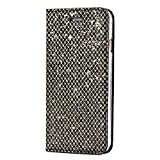 SainCat Custodia iPhone 6, Custodia Ultra Slim Portafoglio Glitter Libro Bling Bling Shock-Absorption Pelle Flip Cover per iPhone 6/6S-Nero