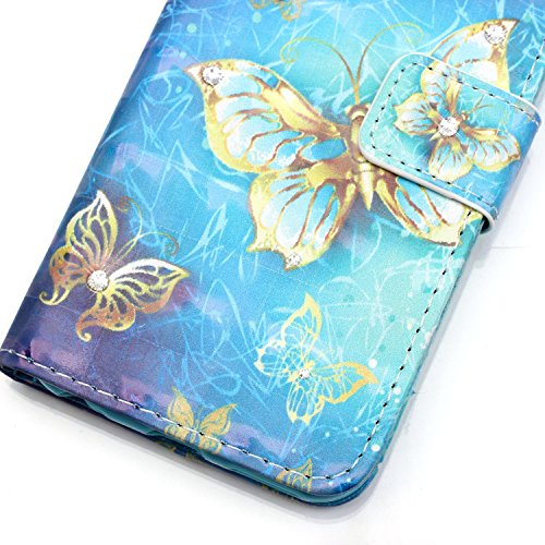 "MOONCASE iPhone 7 Coque, Creative 3D motif Bling Diamond Case Portefeuille Housse en Cuir Etui à rabat avec Béquille pour iPhone 7 4.7"" -Colorful feathers Or Papillon"