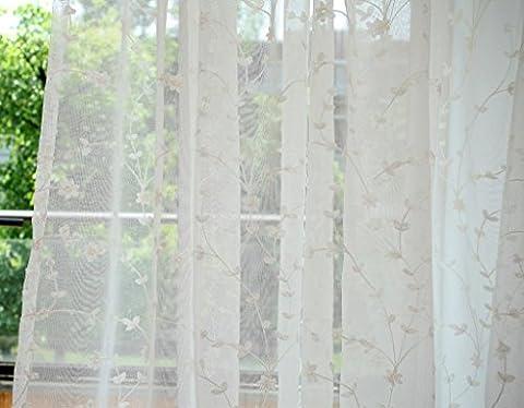 GWELL Rideau Voilage Super Soft Blanc Demi Transparent écharpe de Rideau Fleurs Oeillets Plastique