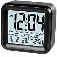 Sveglia digitale con 3set di allarme e luce attivato luce notturna features, All in One impostazione e display–giorno, data, temperatura, Hustle libera a batteria Black