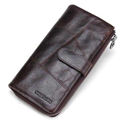Contacts Mann-echtes Leder-Karten-Kasten Bifold Mappe Scheckheft-Organisator Dunkelbraun (Zipper Wallet)