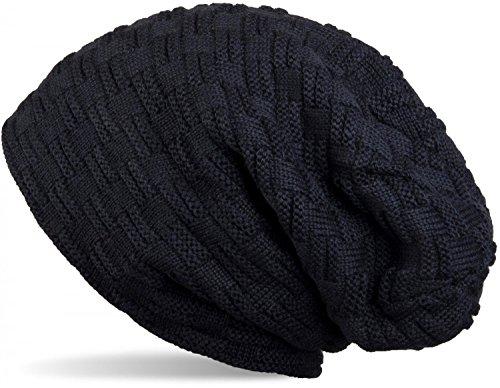 styleBREAKER warme Feinstrick Beanie Mütze mit Flecht Muster und sehr weichem Fleece Innenfutter, Unisex 04024058, Farbe:Midnight-Blue / - Gestrickte Aus Mütze Baumwolle