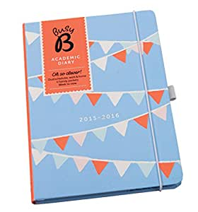 Busy B Academic Mid Year A5 Diary August - August 2015-16 with pockets, dual schedules and timetables