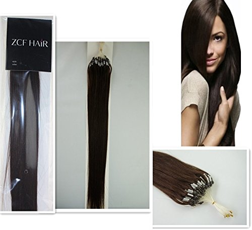 Style 20'' Easy Loops Micro Rings Beads Tipped 100% Real Human Hair Extensions Straight Hair Color 02-Dark Brown Beauty Design Salon by COOL-BEAUTY